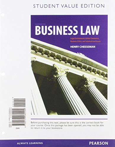9780133080094: Business Law, Student Value Edition (8th Edition)