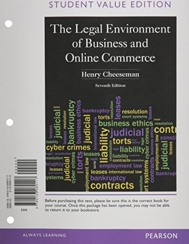 Legal Environment of Business and Online Commerce,: Cheeseman, Henry R.