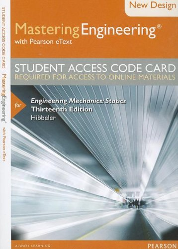 9780133083187: Modified MasteringEngineering with Pearson eText -- Access Card -- for Engineering Mechanics: Statics (13th Edition)
