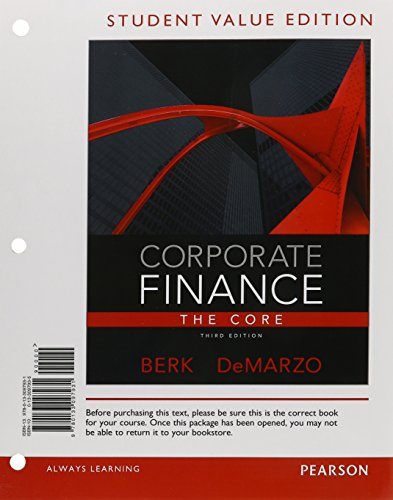 9780133097931: Corporate Finance: The Core, Student Value Edition (3rd Edition)