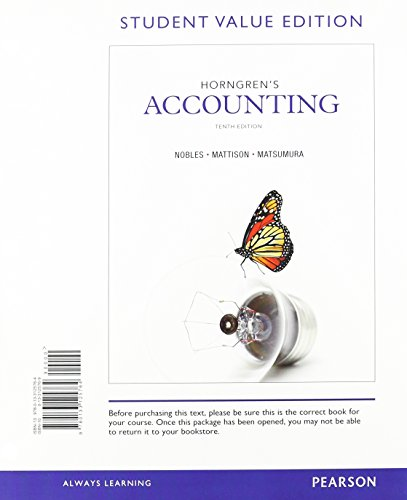 9780133125764: Horngren's Accounting, Student Value Edition (10th Edition)