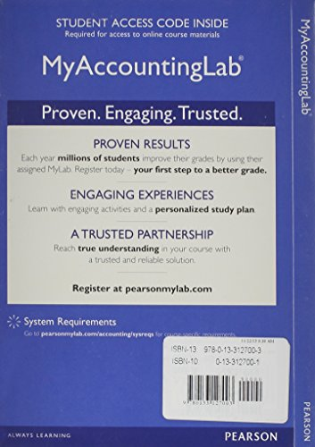 9780133127003: NEW MyAccountingLab with Pearson eText-- Standalone Access Card -- for Horngren's Accounting, The Managerial Chapters (MyAccountingLab (Access Codes))