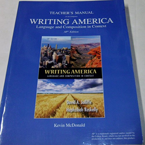 9780133132465: Teacher's Manual to Accompany Writing America Language and Composition in Context AP Edition