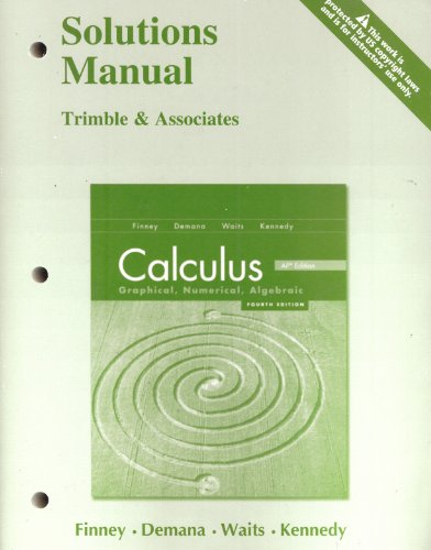 9780133179231: Calculus: Graphical, Numerical, Algebraic Solutions Manual