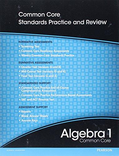 9780133185621: High School Math 2012 Common-Core Algebra 1 Progress Monitoring Assessment Grade 8/9