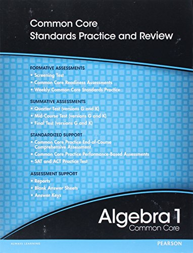 9780133185621: High School Math 2012 Common-Core Algebra 1 Progress Monitoring Assessment Grade 8/9