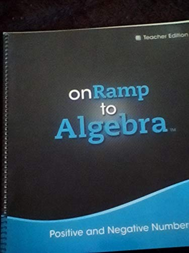 9780133235500: On Ramp to Algebra, Positive and Negative Numbers, Teacher Edition