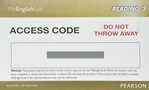 9780133248937: MyEnglishLab Reading 3 (Student Access Code)