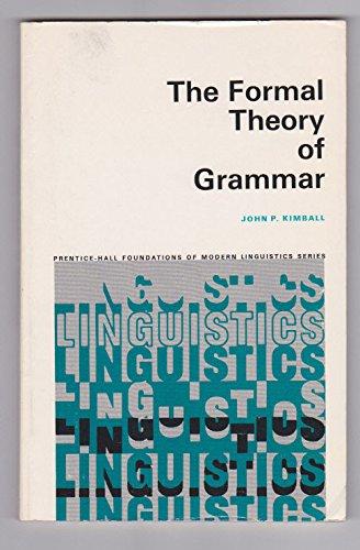 9780133290783: Formal Theory of Grammar
