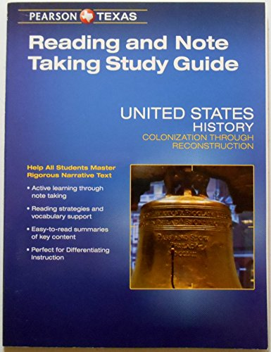 9780133321791: Pearson Texas United States History: Colonization Through Reconstruction Grade 8 Reading and Note Taking Study Guide