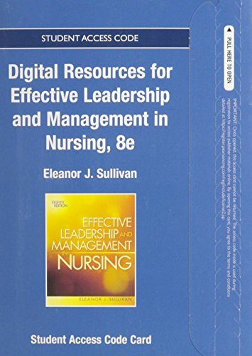 9780133351835: Textbook Resources for Effective Leadership and Management in Nursing -- Access Card