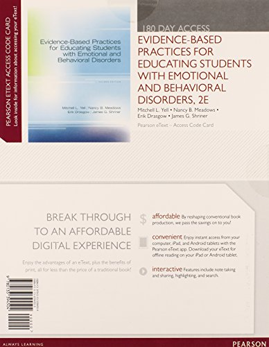 9780133394504: Evidence-based Practices for Educating Students with Emotional and Behavioral Disorders, Pearson Etext -- Access Card