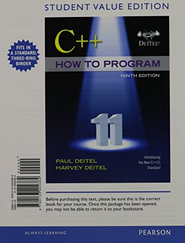 9780133402384: C++ How to Program (Early Objects Version), Student Value Edition (9th Edition)