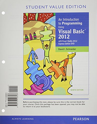 9780133414653: An Introduction to Programming Using Visual Basic 2012, Student Value Edition plus MyProgrammingLab with Pearson eText -- Access Card Package (9th Edition)