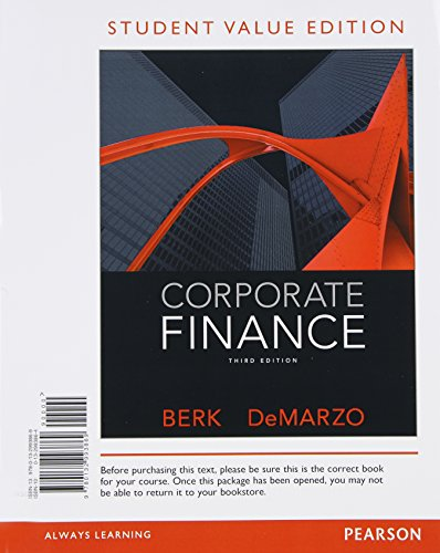 9780133424140: Corporate Finance, Student Value Edition Plus NEW MyFinanceLab with Pearson eText -- Access Card Package (3rd Edition)