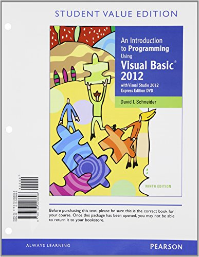 9780133428698: An Introduction to Programming Using Visual Basic 2012, Student Value Edition (9th Edition)