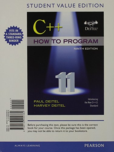 9780133439755: C++ How to Program, Early Objects, Student Value Edition plus MyProgrammingLab with Pearson eText -- Access Card Package (9th Edition)