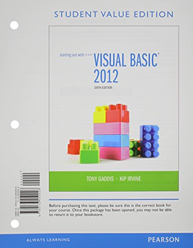 9780133441864: Starting Out with Visual Basic 2012, Student Value Edition Plus MyProgrammingLab with Pearson eText -- Access Card Package (6th Edition)