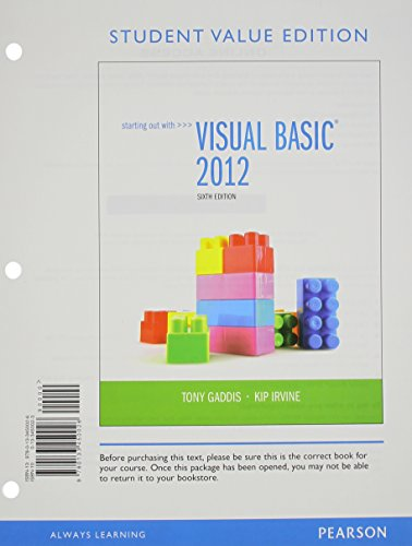 9780133450026: Starting Out with Visual Basic, Student Value Edition (6th Edition)