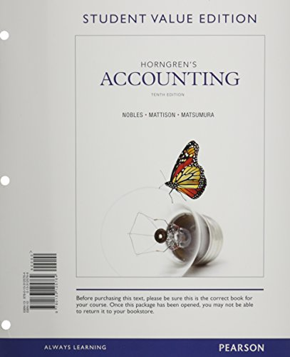 Horngren's Accounting, Student Value Edition and NEW: Tracie L. Miller-Nobles,