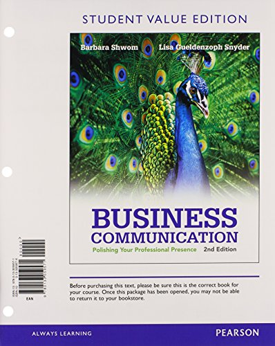 9780133484014: Business Communication: Polishing Your Professional Presence, Student Value Edition Plus NEW MyBCommLab with Pearson eText -- Access Card Package (2nd Edition)