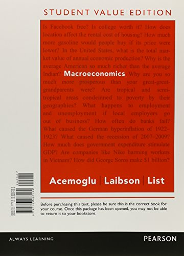 Macroeconomics, Student Value Edition: Acemoglu, Daron; Laibson,