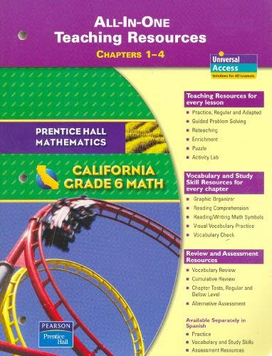 9780133500288: Grade 6 Math: California All-in-One Teaching Resources, Chapters 1-4