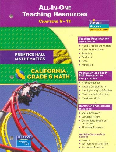 9780133500301: Grade 6 Math: California All-in-One Teaching Resources, Chapters 9-11