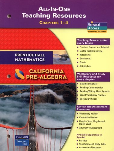 9780133500318: Prentice Hall Mathematics - California Pre-Algebra -- All-in-One Teaching Resources, Chapters 1 - 4