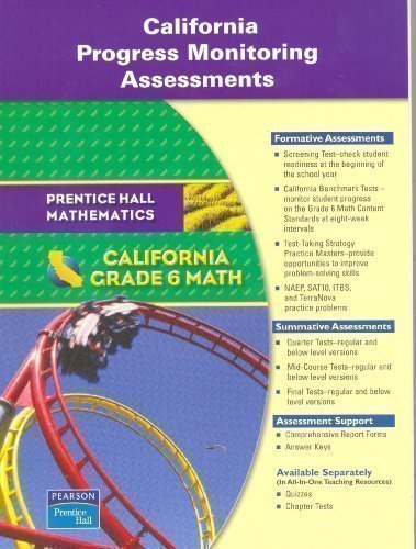 9780133500875: California Progress Monitoring Assessments: Grade 6 Math