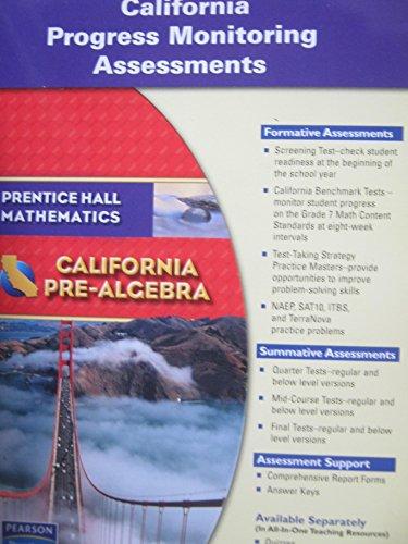 9780133500905: Prentice Hall Mathematics - California Pre-Algebra -- California Progress Monitoring Assessments
