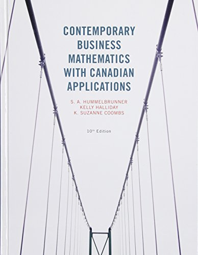 9780133508734: Contemporary Business Mathematics with Canadian Applications Plus MyMathLab with Pearson eText -- Access Card Package (10th Edition)