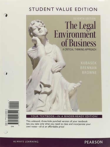 9780133546514: Legal Environment of Business, The, Student Value Edition: (7th Edition)