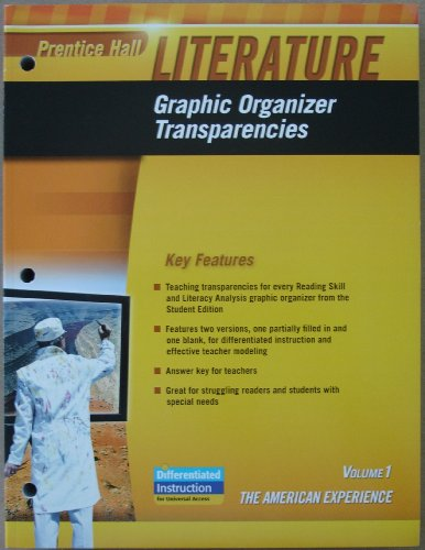 9780133668339: Prentice Hall Literature - Graphic Organizer Transparencies, The American Experience, Volume 1 (1)