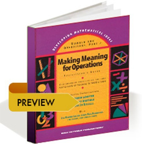 DEVELOPING MATHEMATICAL IDEAS 2009 NUMBERS AND OPERATIONS: MODERN CURRICULUM PRESS