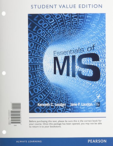 9780133741315: Essentials of MIS, Student Value Edition (11th Edition)