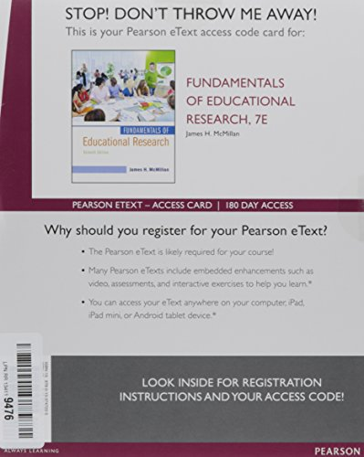 9780133747225: Fundamentals of Educational Research, Enhanced Pearson eText -- Access Card (7th Edition)