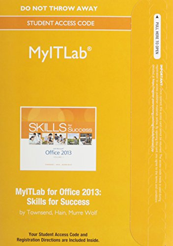 9780133775037: MyITLab without Pearson eText -- Access Card -- for Skills for Success with Office 2013 Volume 1 (Replacement Card)