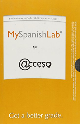 9780133781052: MySpanishLab (Multi-Semester) without Pearson eText -- Access Card -- for Acceso