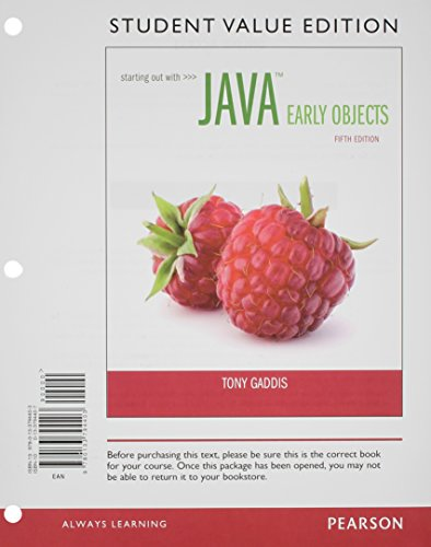 9780133796322: Starting Out with Java: Early Objects, Student Value Edition plus MyProgrammingLab with Pearson eText -- Access Card Package (5th Edition)