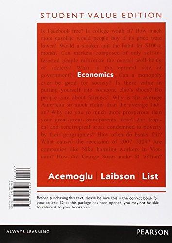 Economics, Student Value Edition: Acemoglu, Daron; Laibson,