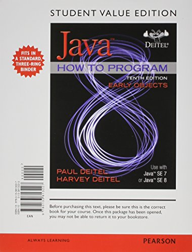 Student Value Edition for Java How to Program, Early Objects plus MyProgrammingLab with Pearson ...