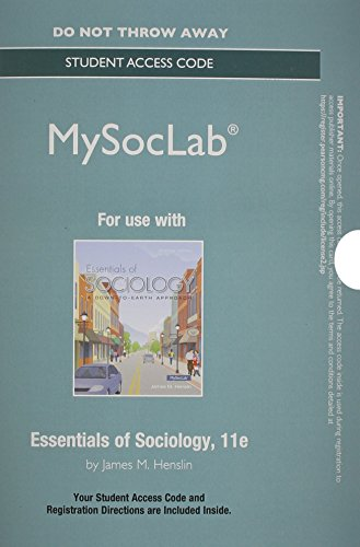 9780133814156: NEW MySocLab without Pearson eText -- Student Access Card -- for Essentials of Sociology (11th Edition)