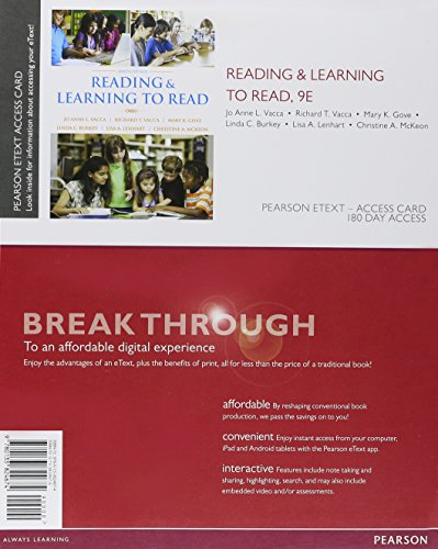 Reading & Learning To Read Video Enhanced Pearson Etext Access Card