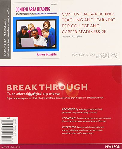 Content Area Reading: Teaching and Learning for College and Career Readiness, Pearson eText -- Access Card