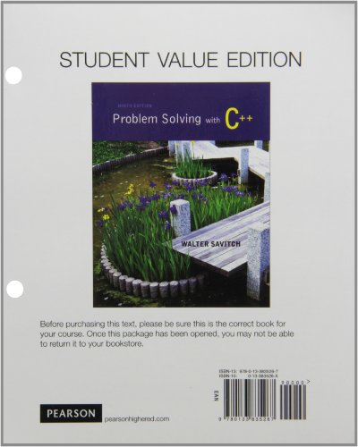 Student Value Edition Problem Solving with C++: Savitch, Walter