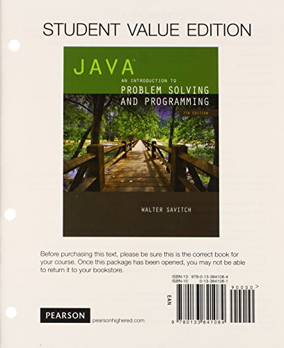 9780133841084: Java: An Introduction to Problem Solving and Programming, Student Value Edition (7th Edition)