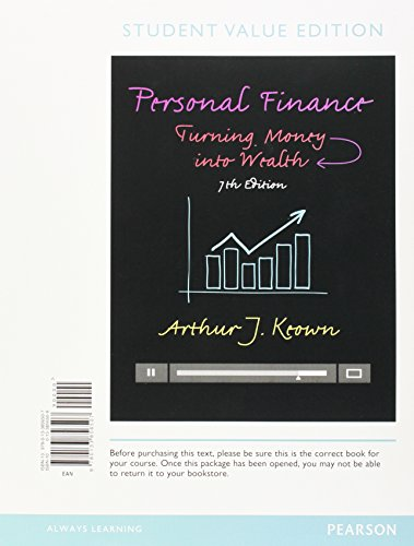 9780133856507: Personal Finance: Turning Money Into Wealth, Student Value Edition (The Pearson Series in Finance)