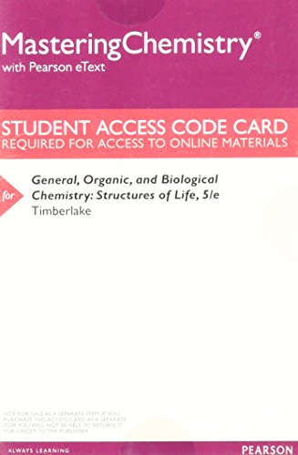 9780133858419: MasteringChemistry with Pearson eText -- ValuePack Access Card -- for General, Organic, and Biological Chemistry: Structures of Life
