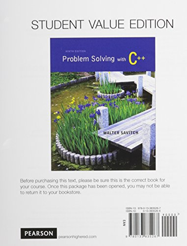 9780133862225: Problem Solving with C++, Student Value Edition plus MyProgrammingLab with Pearson eText -- Access Card Package (9th Edition)